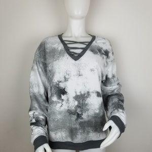 Kind Karma Lg V Neckline Laced Sweatshirt